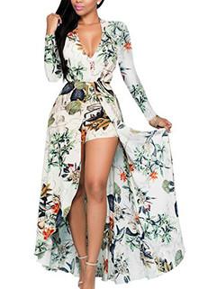 Deep V Neck Long Sleeve Floral Romper Dress Design