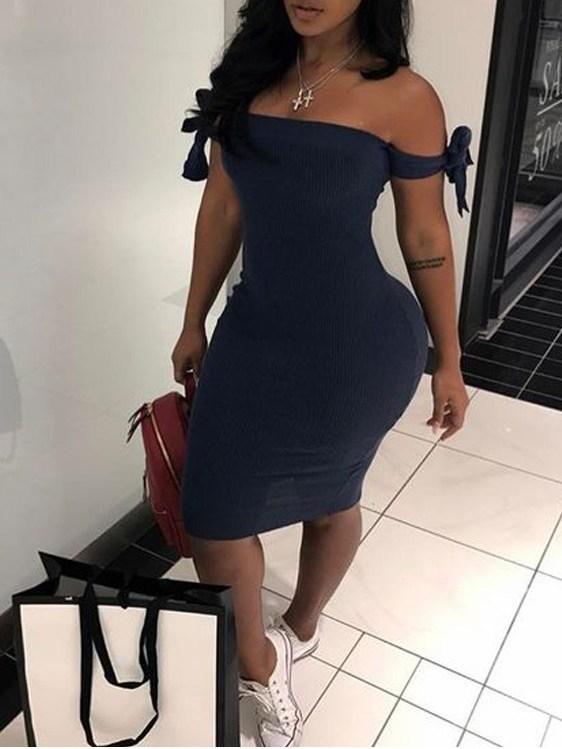 Off Shoulder Bow Tie Blue Short Dress