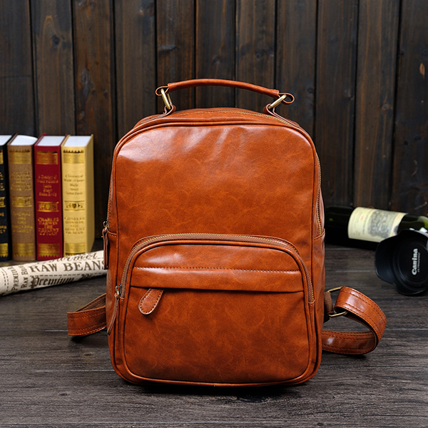 Preppy Style Solid Zipper Casual Leather Backpacks