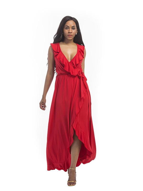 New Solid Plus Size Sleeveless Ruffled Asymmetrical Dress