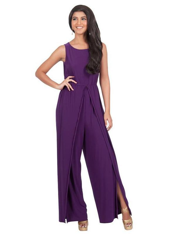 Large Size Asymmetrical Slit Sleeveless Jumpsuit