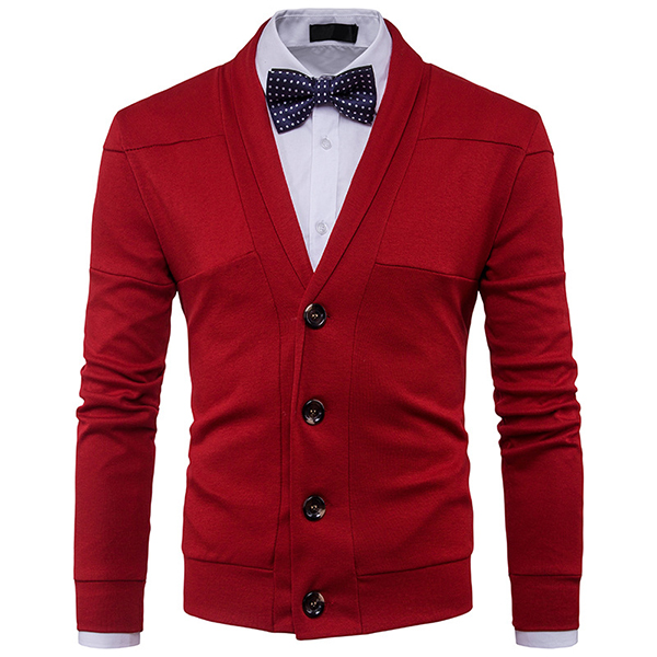 Stylish Easy Match Solid Men Cardigan Sweater
