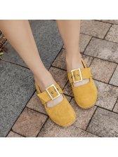 Solid Lightweight Suede Belt Buckle Flat Shoes