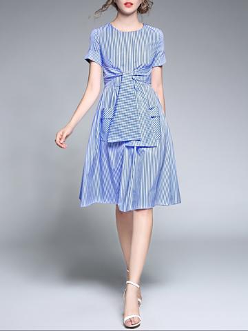 Stripe Smart Waist Plaid Pocket A-Line Short Sleeve Dress