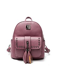 Rivet Fringe Design Litchi Pattern Backpack