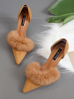 Korean Style Chunky Heels Rabbit Hair High Heels