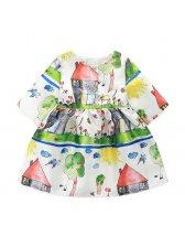 Adorable Doodles Printed Half Sleeve Girls Dresses(3-4 Days Delivery)