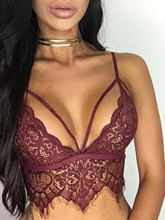Sexy Hot Lace V-Neck Straps Backless Midriff Bra