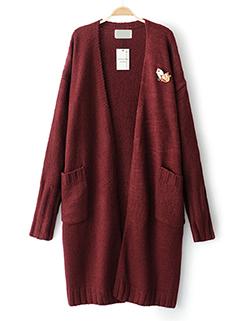 Simple Design Solid V Neck Knitting Long Cardigan (3-4 Days Delivery)