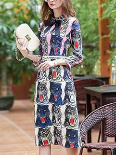 Retro Printing Bow Decor Pencil Dress