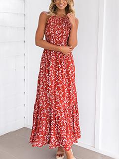 Floral Halter Maxi Sleeveless Dresses Wholesale