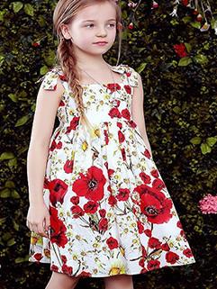 New Off-Shoulder Straps Floral Princess Girl Dress(3-4 Days Delivery)