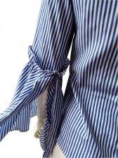 Euro Striped Flare Sleeve Ladies Blouse Design
