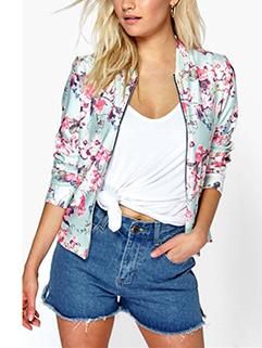 Early Autumn Zip Up Floral Jacket Short Coat