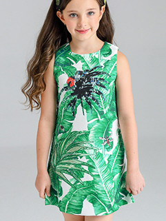 Lovely Leaf Printing Sleeveless Dresses For Girls(3-4 Days Delivery)