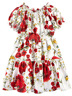 Euro Elastic Layered Floral Princess Girl Dress(3-4 Days Delivery)