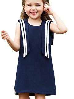 Navy Style Sleeveless Girls Princess Dresses(3-4 Days Delivery)