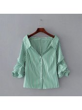 Autumn Casual V-Neck Strip Cardigan Blouse (3-4 Days Delivery)