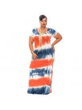 Summer Large Size Tie-Dye Floor Long Dress