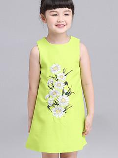 Fresh Sleeveless Flower Printing Children Dress 3-4days Delivery
