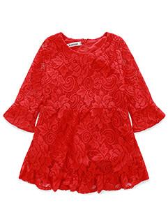 Elegant Flare Sleeve Hook Flower Lace Children Dress 3-4days Delivery