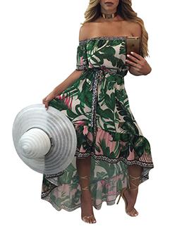 Fashion Camera Printed Off-Shoulder Short Sleeve Dress
