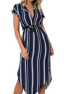 Camera V-Neck Smart Waist Short Sleeve Striped Dresses