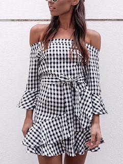 Off Shoulder Flare Sleeve Plaid Short Dress