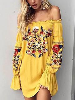 Ethnic Style Floral Off Shoulder Vocation Dress