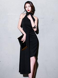 Elegant Sleeveless Halter Solid Evening Dress
