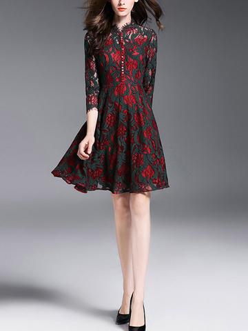 Autumn New Contrast Color Hollow Out Lace Dresses