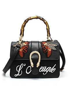 Literary Style Embroidery Bee Bamboo Handbag