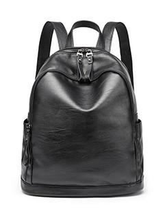 Classical Look Solid Zipper Backpack