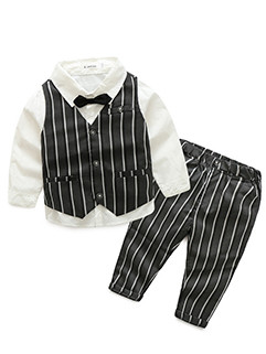 Striped Waistcoat 3 Pieces Boys Outfits(3-4 Days Delivery)