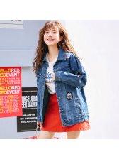 Stylish Patch Blue Oversize Denim Coat For Women
