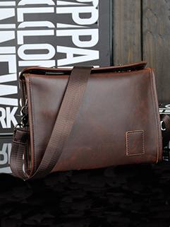 Simple Double Twist Design Men Leather Messenger Bags