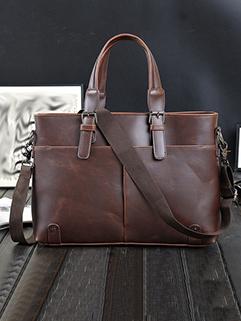 Vintage Solid Zipper Casual Handbags For Men