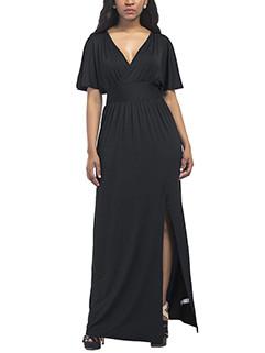Sexy V-Neck Slit Large Size Smart Waist Dress