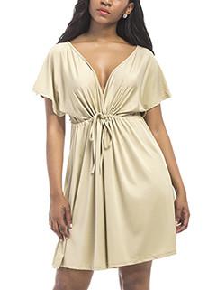Sexy V-Neck Solid Large Size Smart Waist Dress