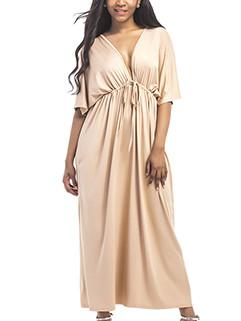 Sexy V-Neck Solid Drawstring Backless Long Dress