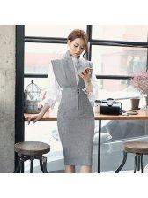Korean Fashion Stand Collar Elegant Pencil Dress