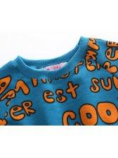 European Style Crew Neck Letter Printing Children Sets