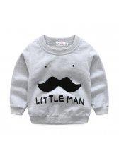 Casual Long Sleeve Moustache Patch Children Sets