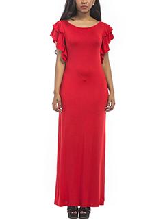 Solid Layered Ruffle Sleeve Oversized Maxi Dress