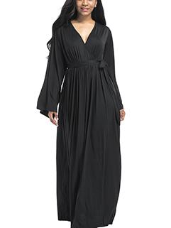 Deep V Neck Lace Up Oversized Maxi Evening Dress