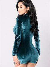 Fitted High Neck Long Sleeve Velvet Rompers