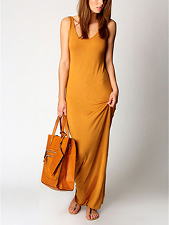 Elegant Round Neck Sleeveless Slim Long Dress