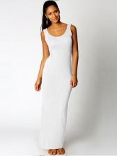 Elegant Round Neck Sleeveless Slim Long Dress