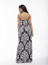 Prints Boat Neck Oversized Strapless Maxi Dress