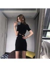 New Slim Solid Cross Exposed Waist Wrap Dress